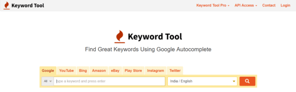 keywordTool.io WordPress keyword research tool
